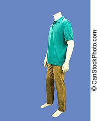 mannelijke , paspop, geklede, in, vrijetijdskleding