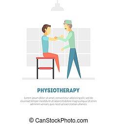 mannelijke , patiënt, mensen, therapie, na, illustratie, rehabilitatie, fysiotherapie, orthopedic, vector, oefeningen, krijgen, spandoek, blessures, lichamelijk, mal