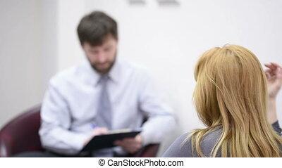 mannelijke , psycholoog, en, zijn, vrouwlijk, patiënt, gedurende, therapie