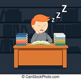 mannelijke , slapende, terwijl, boek, student lezen