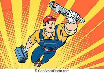 mannelijke , superhero, installatiebedrijf, met, een, moersleutel