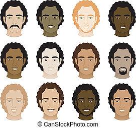 mannen, afro, krullend, gezichten