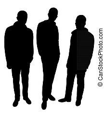 mannen, drie, silhouette