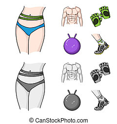 mannen, fitnes, spotprent, bal, springt, stijl, symbool, bitmap, set, gymnastisch, liggen, sneakers., web., handschoenen, monochroom, iconen, illustratie, torso, verzameling