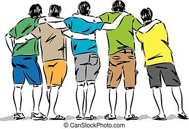mannen, frienship, illustratie, vector, groep, concept