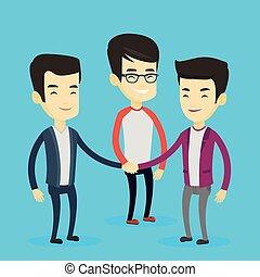 mannen, groep, hands., zakelijk, aansluiting