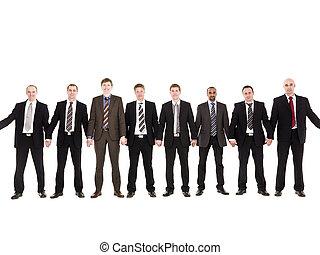 mannen, in een rij