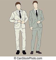 mannen, in, kostuums
