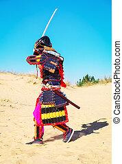 mannen, in, samurai, harnas, met, zwaard, rennende , op,...
