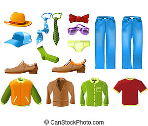 mannen, kleren, pictogram, set