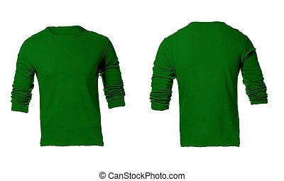 mannen, leeg, groene, lang, sleeved, hemd, mal