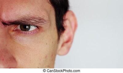 mannen, man's, emotions., menselijk, afsluiten, afbeelden, gezicht