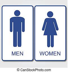 &, mannen, meldingsbord, vrouwen