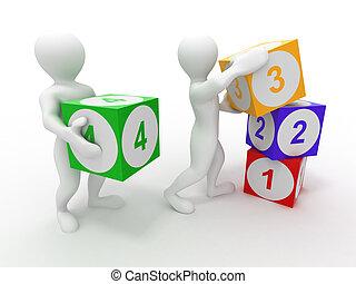 mannen, met, cubes., getallen