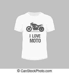 mannen, -, moto, t-shirt, vector, witte , pictogram