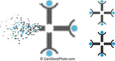 mannen, op, halftone, het desintegreren, handen, pixel, pictogram