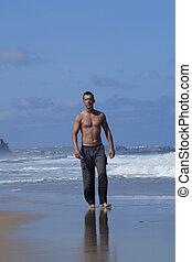 mannen, op het strand