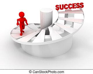mannen, op, stairs.success