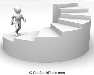 mannen, op, trap