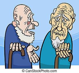 mannen, oud, spotprent, illustratie
