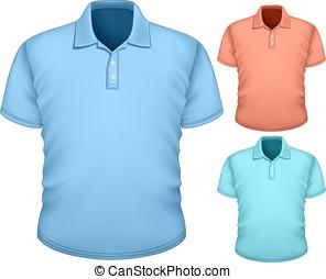 mannen, polo-shirt, ontwerp, mal
