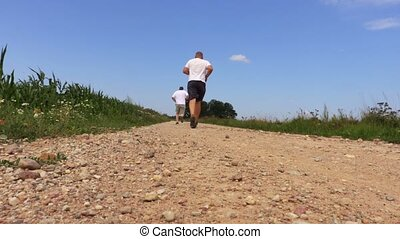 mannen, rennende , op, landelijke straat