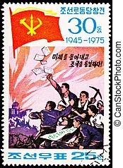 mannen, rioting, koreaanse, het protesteren, zuiden, ...