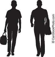 mannen, silhouette