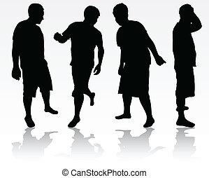 mannen, silhouettes