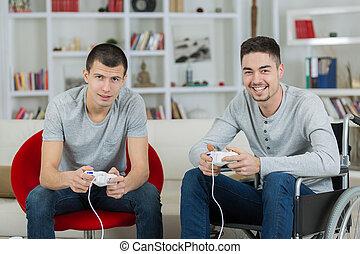 mannen, spel, jonge, een, invalide, computer, spelend