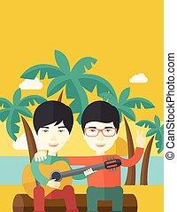 mannen, spelend, guitar.