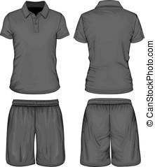 mannen, sportende, polo-shirt, kniebroek