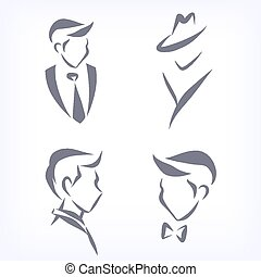 mannen, symbolisch, verzameling, faces.