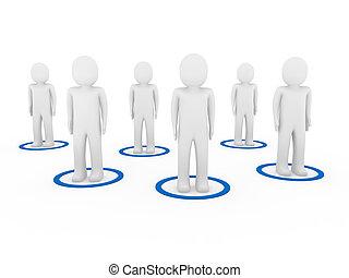 mannen, teamwork, netwerk, 3d