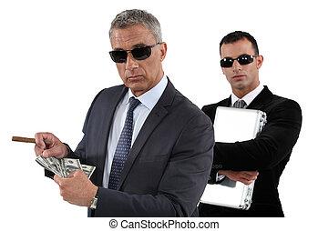 mannen, telling, geld
