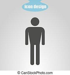mannen, vector, pictogram, grijs, illustratie, achtergrond.