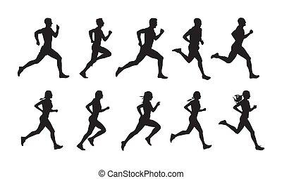 mannen, vector, renners, vrouwen, vrijstaand, set, rennende , groep, uitvoeren, mensen, silhouettes.