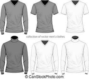 mannen, verzameling, kleren