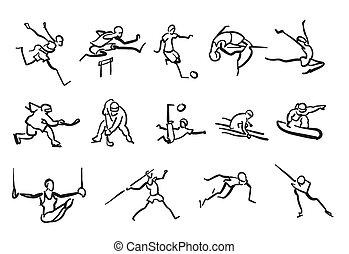 mannen, verzameling, kleverig, sportsmen, sketched, artletieksporten