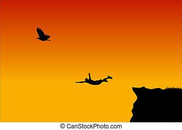 mannen, vliegen