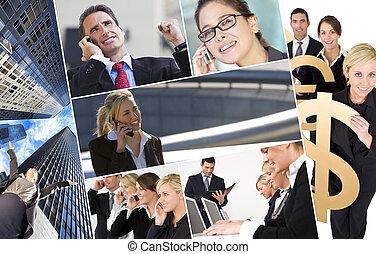 mannen, &, vrouwen, handel team, montage