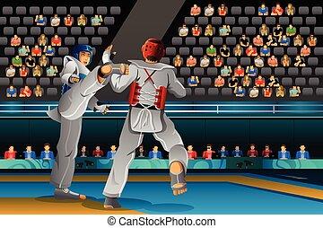 mannen, wedijveren, in, een, taekwondo, competitie