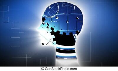 mannen, werkende , hersenen, monteurs