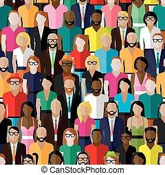 mannen, women., vector, model, groep, fla, seamless, groot