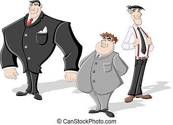 mannen, zakelijk, drie, groep, spotprent