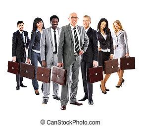 mannen, zakelijk, op, vrouwen, jonge, achtergrond, koffer, team, staand, gevormde, witte