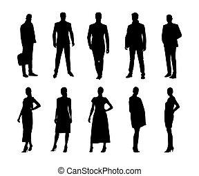 mannen, zakenlui, silhouettes, groep, kleding, vector, vrijstaand, staand, vrouwen, formeel