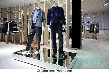 manneqiuns, in, gedeelte, van, mannen, kleren, in, winkel