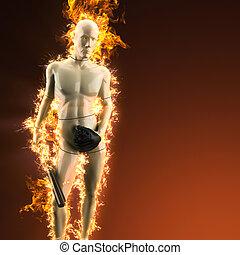 mannequin, à, batte base-ball, dans, brûler