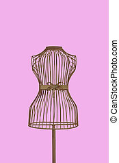 a mannequin thats see through with a clipping path on a pink background